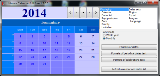 Free Calendar For Windows - Ultimate Calender - Monthly Calendar