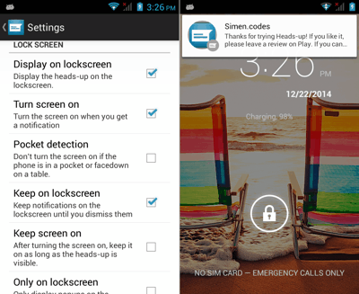 Lockscreen Heads-up Notifications