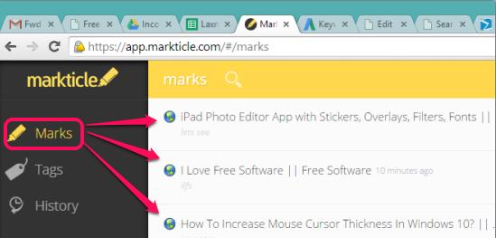 Markticle- saved marks