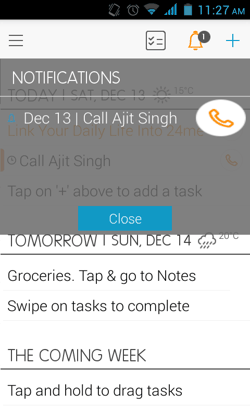 Notifications in 24me for Android