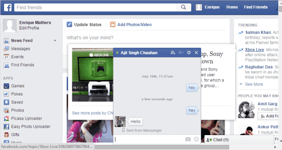 Original Facebook Chat Window and Interface