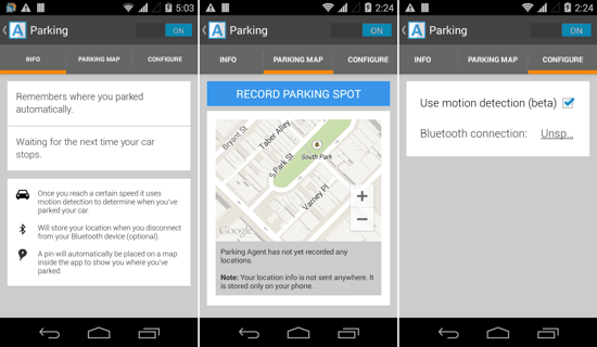 Parking with Agent for Android
