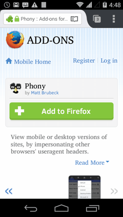 Phony for Firefox Android