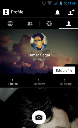 Profile page in EyeEm for Android