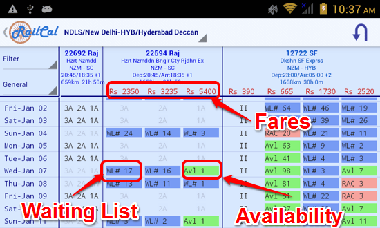 Seat Availability in RailCal for Android