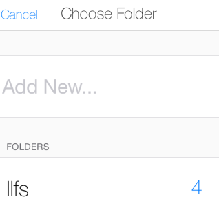 Select Folder or Create New
