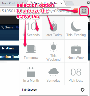 Tab Snooze- browser extension to hide opened tabs and auto launch those tabs