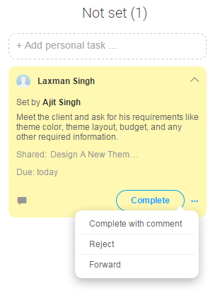 Task Received by Other User