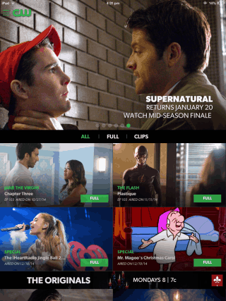 The CW App Home Screen