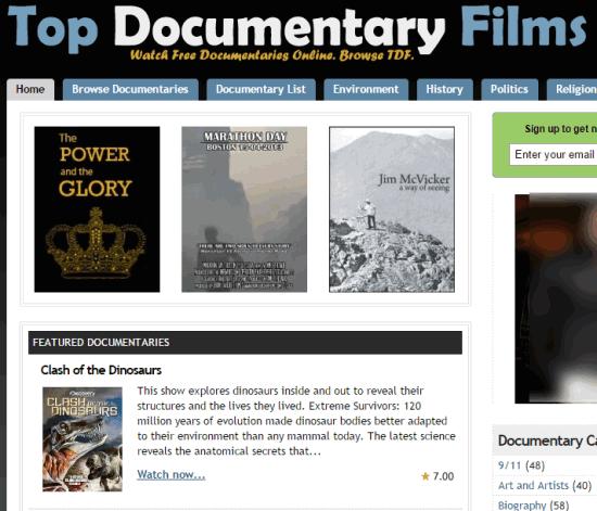 Top Documentary Films- homepage