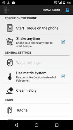 Torque  for Android Settings