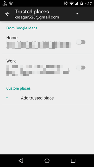 Trusted Places in Android Lollipop