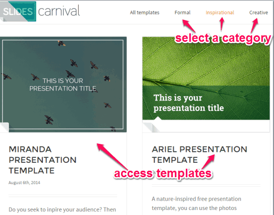 access templates by category