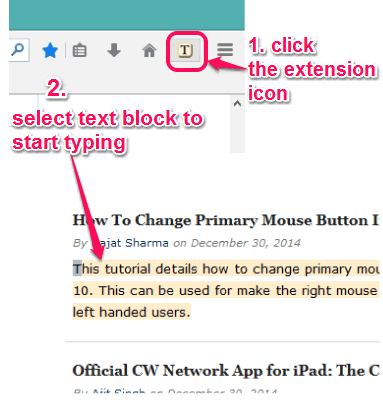 activate the extension and select text block to start typing