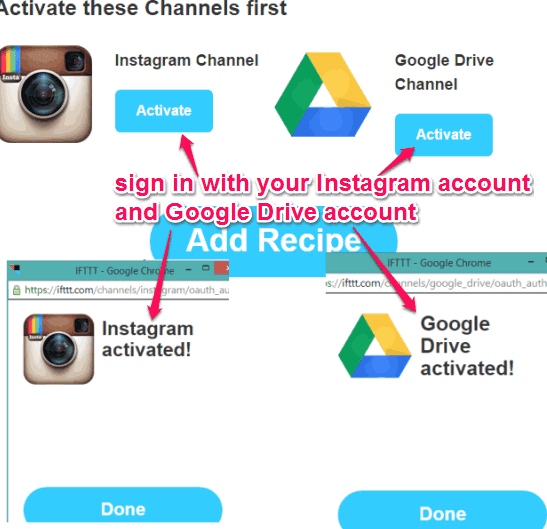 activate your Instagram and Google Drive accounts