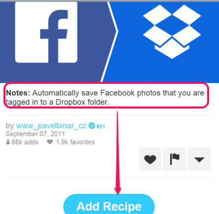 add recipe to automatically save Facebook photos you are tagged in to your Dropbox account