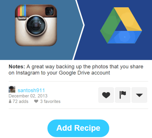 automatic backup Instagram photos to Google Drive using IFTTT recipe