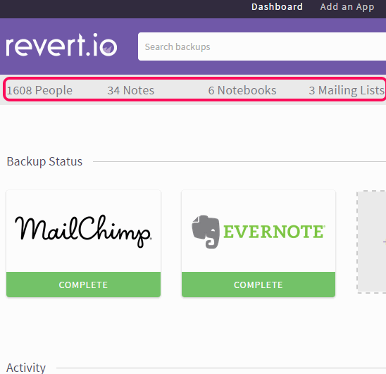 automatically take backup of Evernote and MailChimp