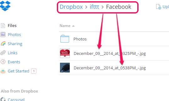 backup Facebook tagged photos to Dropbox