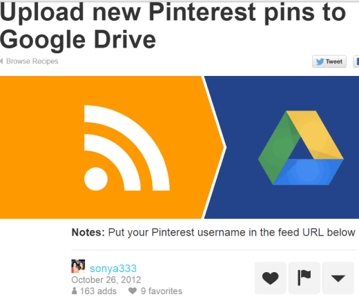 backup new Pinterest pins to your Google Drive using IFTTT recipe