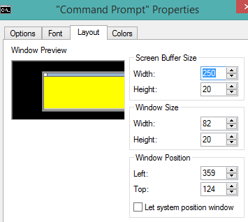 change window size and position