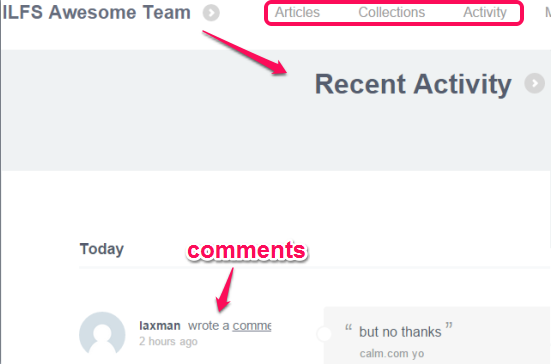 check recent activities and articles on team page