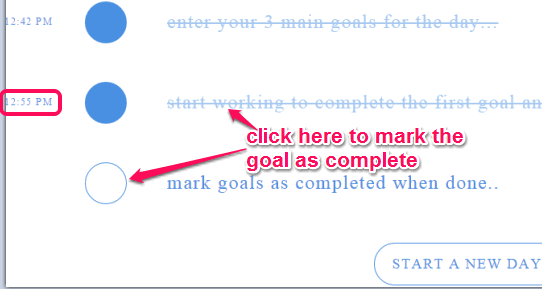 click on the circle to mark the goal as complete