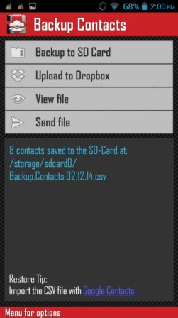 contact backup apps android 5