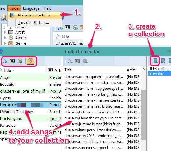 create a collection and add tracks