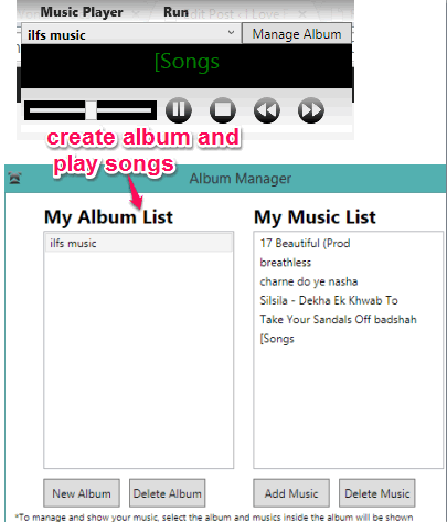 create album and play songs