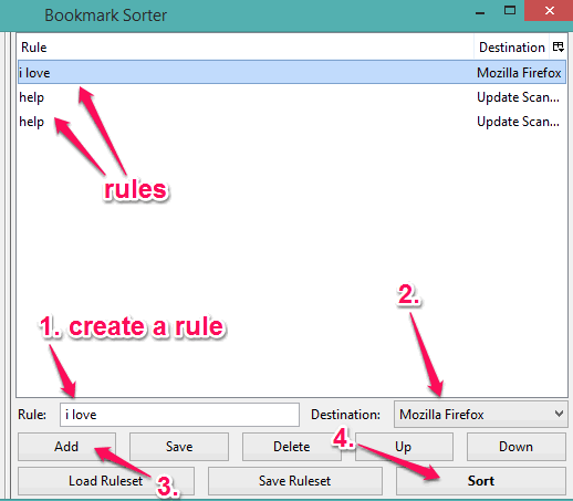 create rules and sort bookmarks