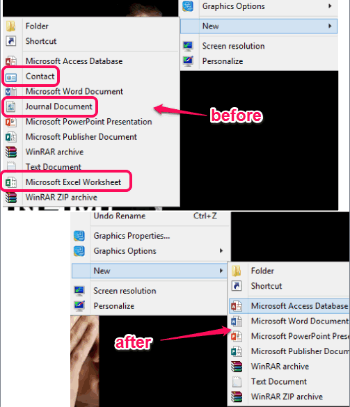 disable entries from right click sub-menu 'New'