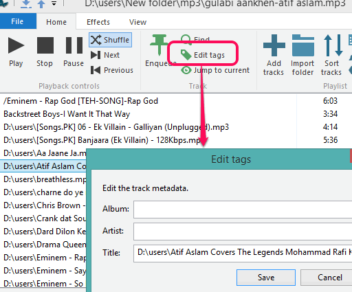 edit tags for a song