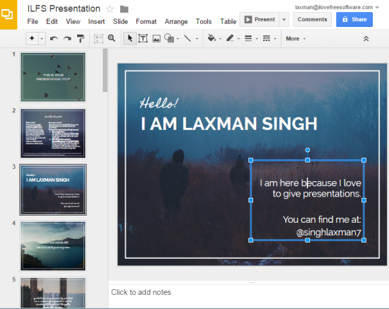 edit the slides and save the presentation