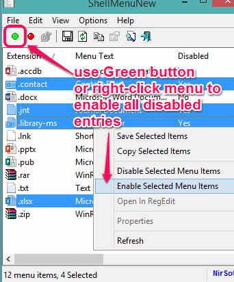 enable all the disabled entries