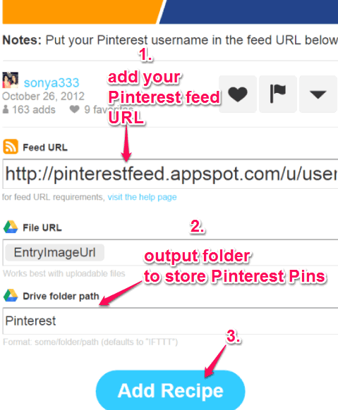 enter Pinterest feed URL and add recipe