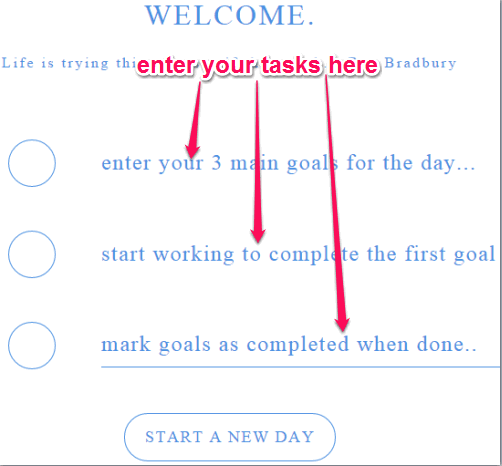 enter your 3 main tasks