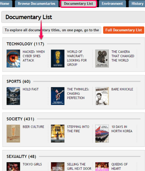 explore documentary list