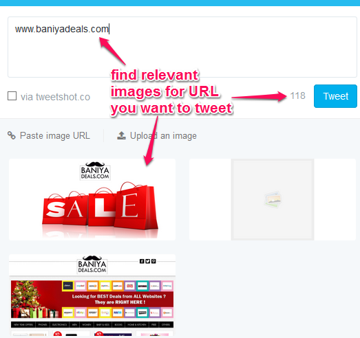 find relevant images for URL you want to tweet