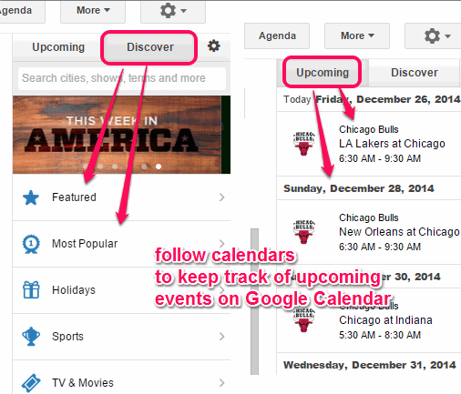 follow calendars to keep track of upcoming events of your interests
