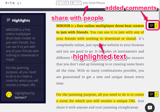 highlight text content of a webpage and share with people