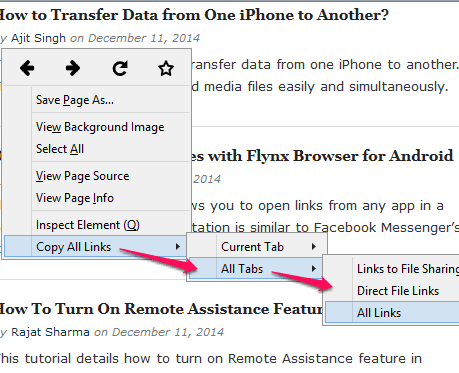 option present in All Tabs
