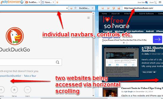 polybrowser horizontal scrolling