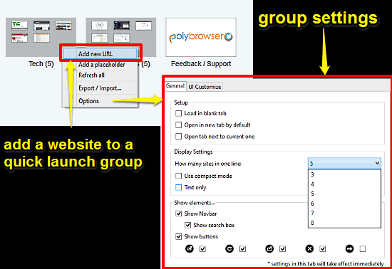 polybrowser tab groups and settings