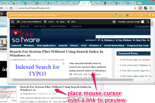 preview a link with mouse hover