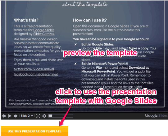 preview template and use it with Google Slides