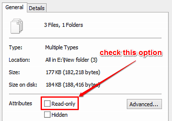 read only attribute marking in windows 10