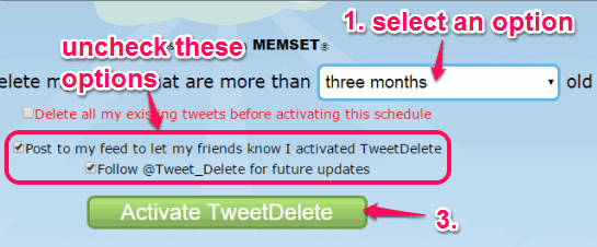 select an option to delete tweets and activate scheduling