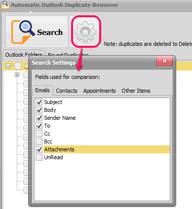 select fields for differnt entries to find duplicate items