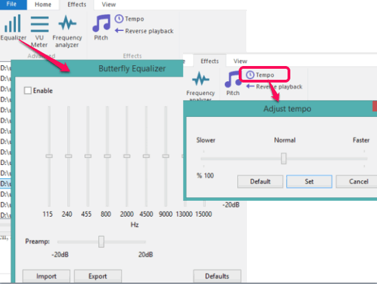 set tempo rate and use equalizer